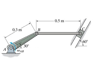 Crank AB rotates with a constant angular velocit
