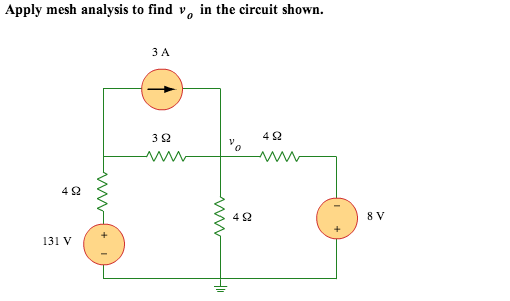 Apply mesh analysis to find v0 in the circuit show