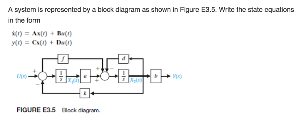 Solved determine the state variables and state transition a system is represented by a block diagram as shown in figure e35 ccuart Gallery
