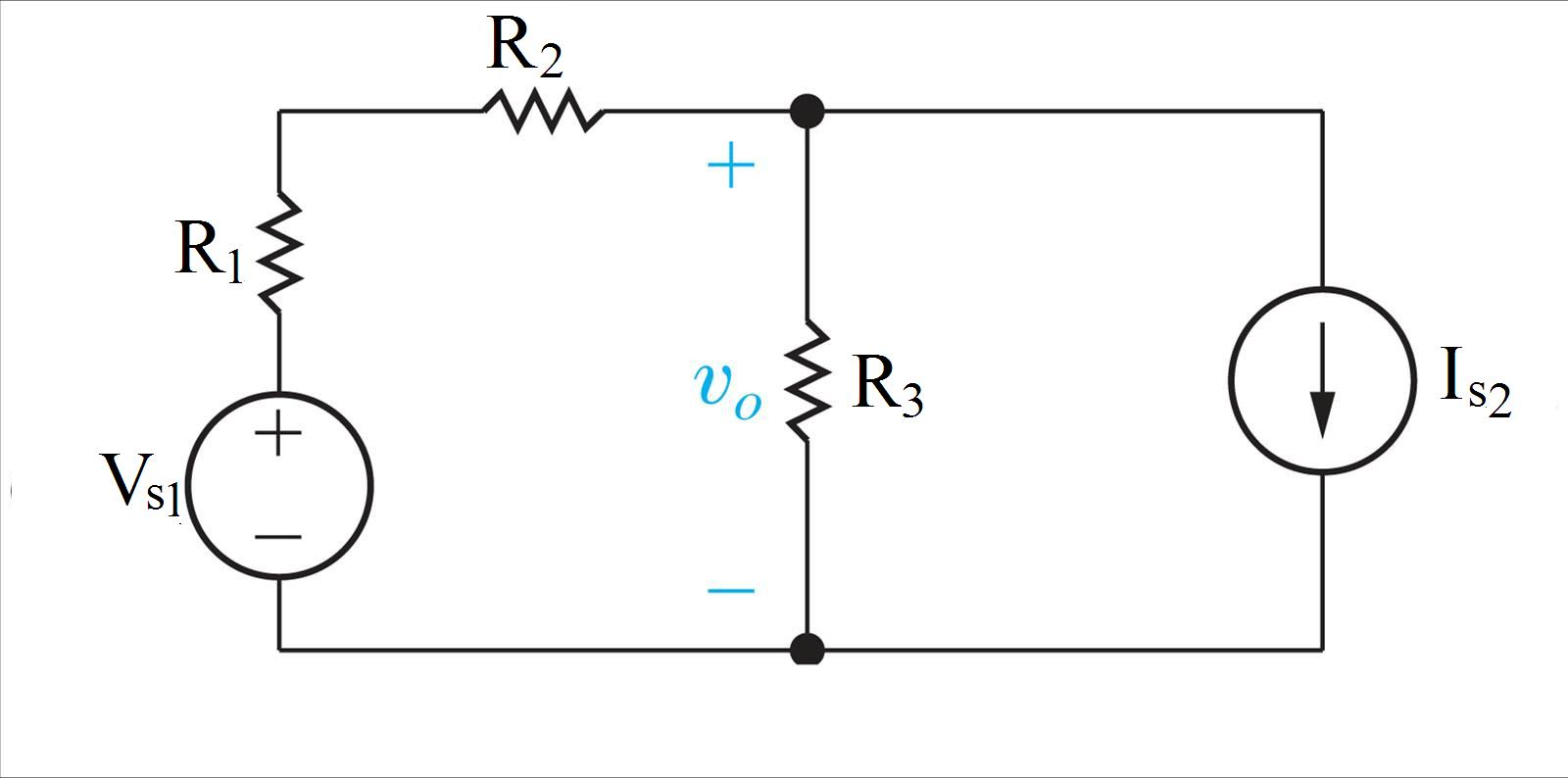 In the circuit, Vs1 is 55 V, Is2 is 3 A, R1 is 10