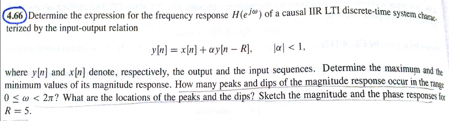 Determine the expression for the frequency respons