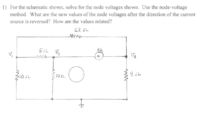 For the schematic shown, solve for the node voltag