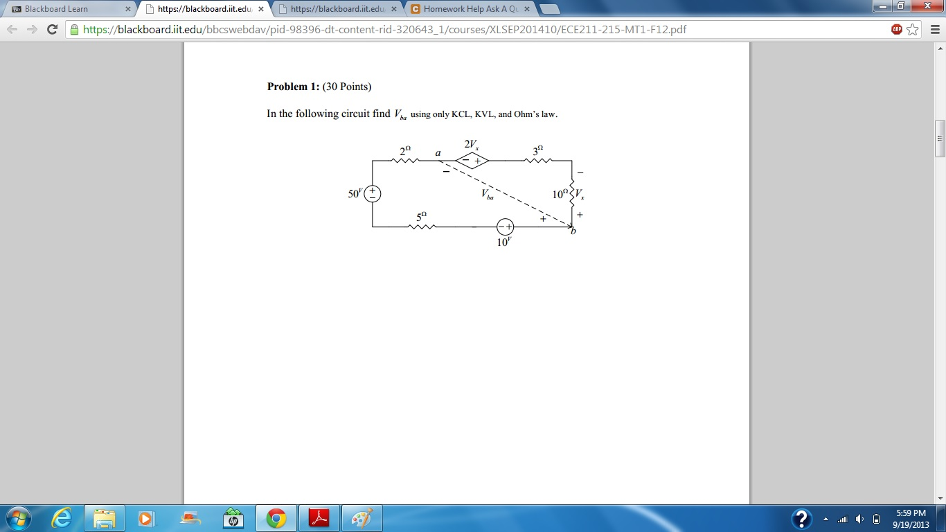 Problem 1: (30 Points) In the following circuit fi