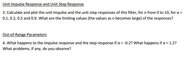 Unit Impulse Response and Unit Step Response Calc