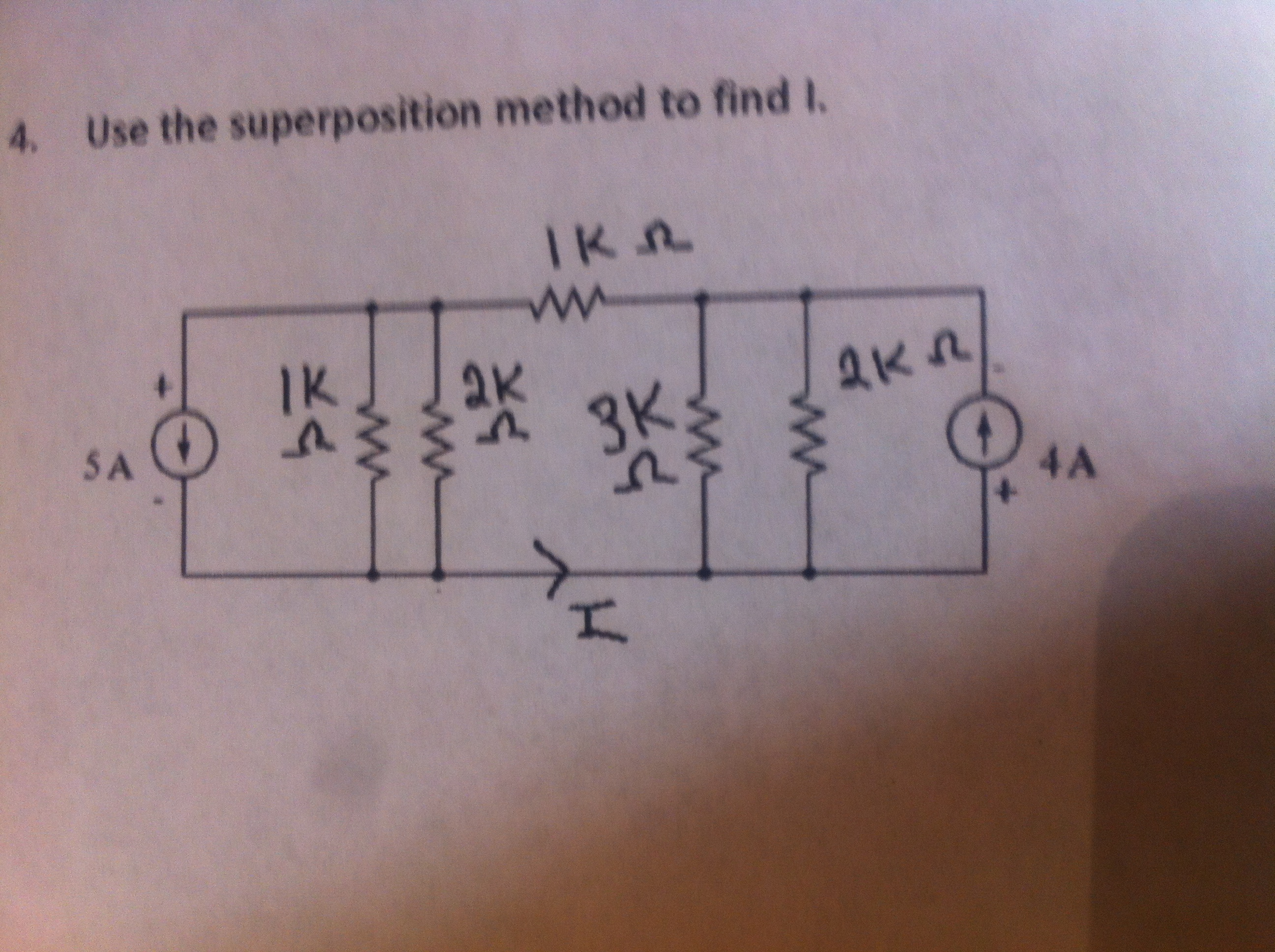 Use the superposition to find I
