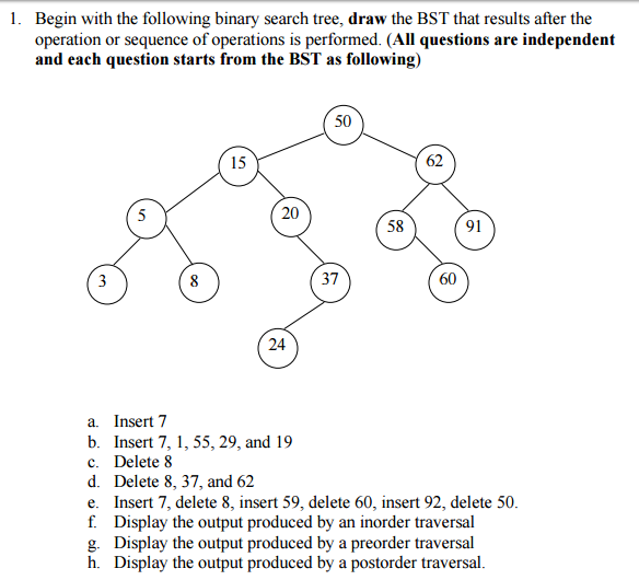 Scribble Drawing Questions : Solved begin with the following binary search tree draw