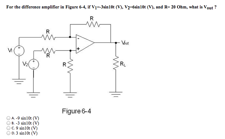 For the difference amplifier in Figure 6-4, if V1