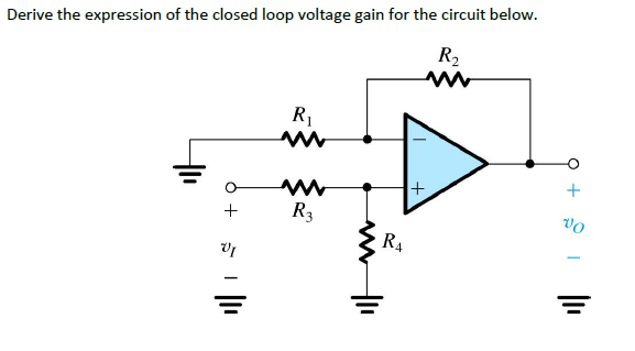 Derive the expression of the closed loop voltage g