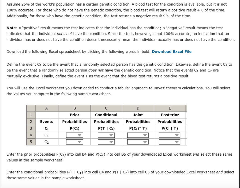 worksheet Genetics And Probability Worksheet solved assume 25 of the worlds population has a certain genetic condition blood test