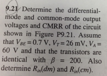 Determine the differential-mode and common-mode ou