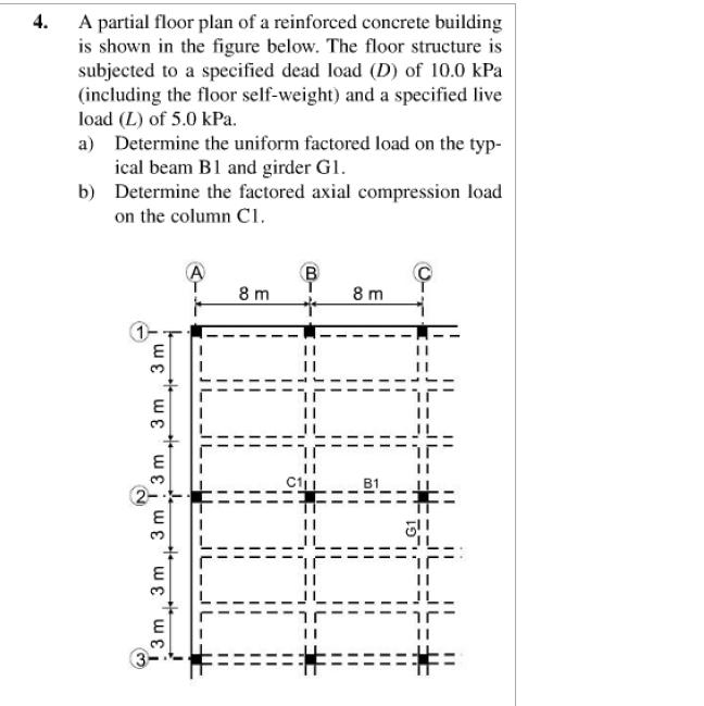 Solved: Partial Floor Plan Of Reinforced Concrete Building ...
