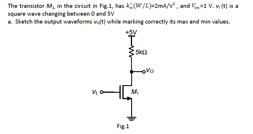 The transistor M1, in the circuit in Fig.1, has k'