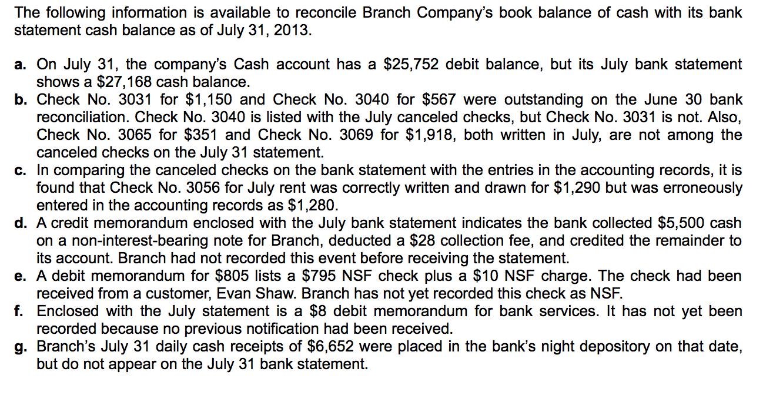 Bank Reconciliation? Journal Entries: Prepare The ... | Chegg.com