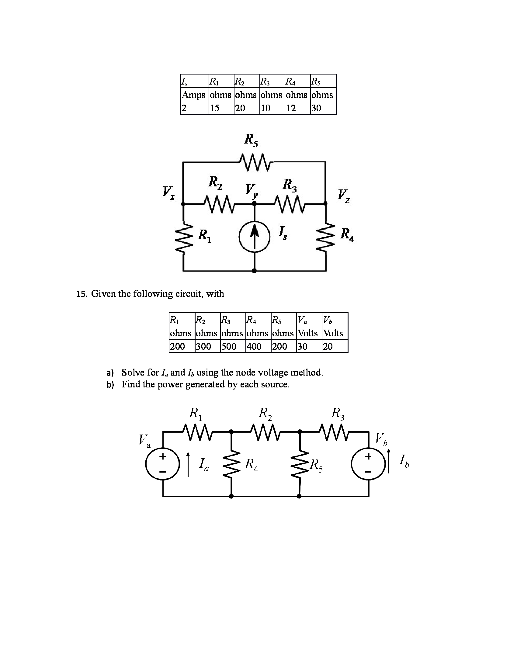Given the following circuit, with Solve for Ia an