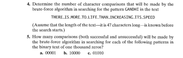 Determine the number of character comparisons that