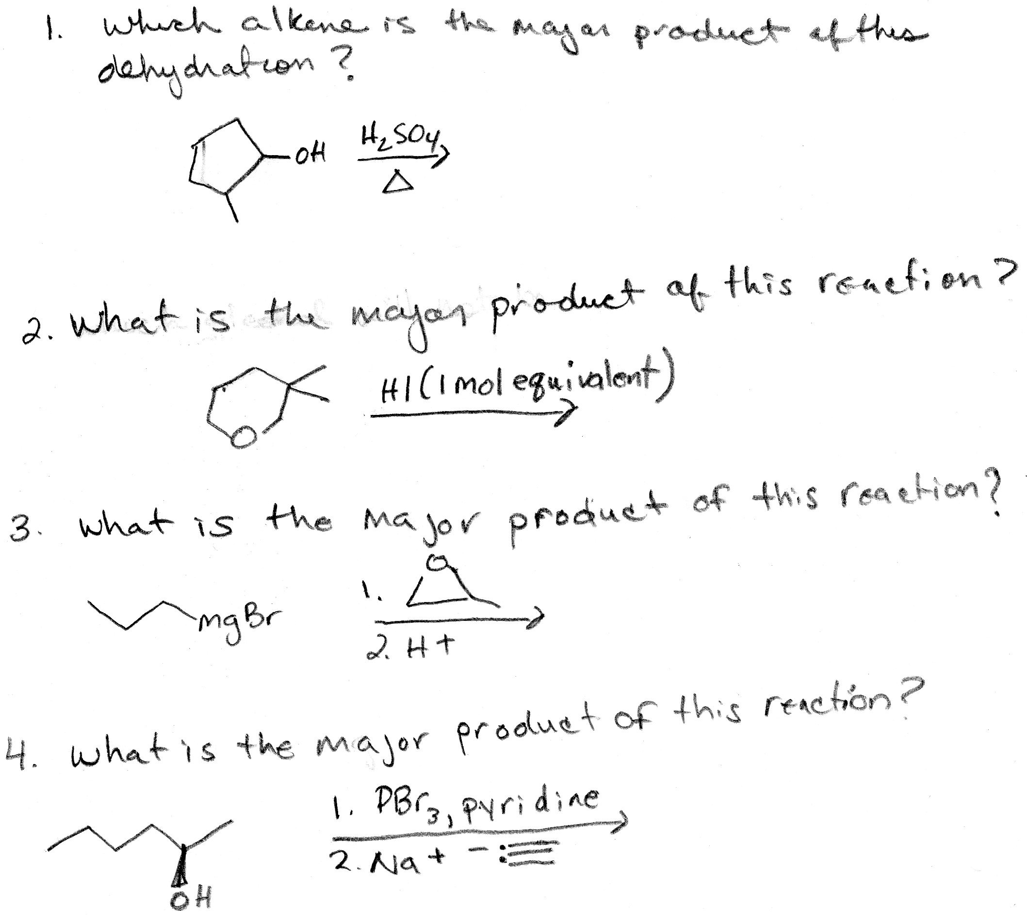 Which alkene is the major product of this dehydrat