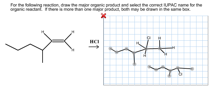 For the following reaction, draw the major organic