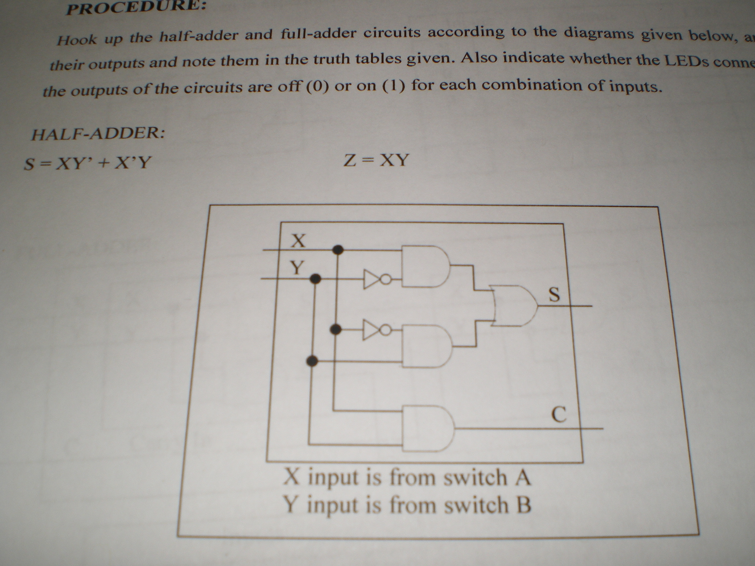 Hook up the half-adder and full-adder circuits acc
