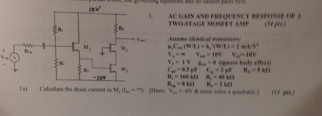 AC GAIN AND FREQUENCY RESPONSE OF A TWO-STAGE MOSF