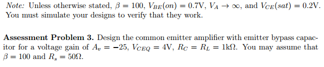 Note: Unless otherwise stated, beta =100, VBE(on)