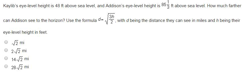 The Formula Gives The Length Of The Side S Of A C Cheggcom - Distance above sea level