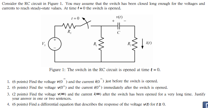 Consider the RC circuit in Figure 1. You may assum