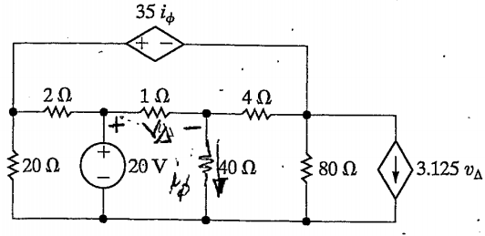 Find the power from the 20 V source