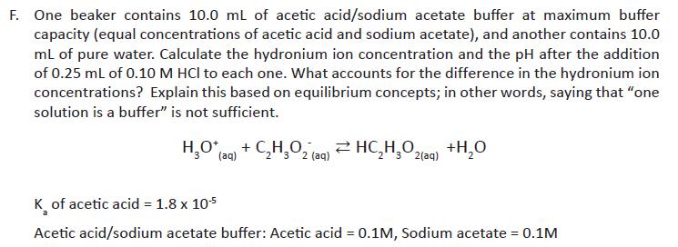 F. One Beaker Contains 10.0 ML Of Acetic Acid/sodi... | Chegg.com