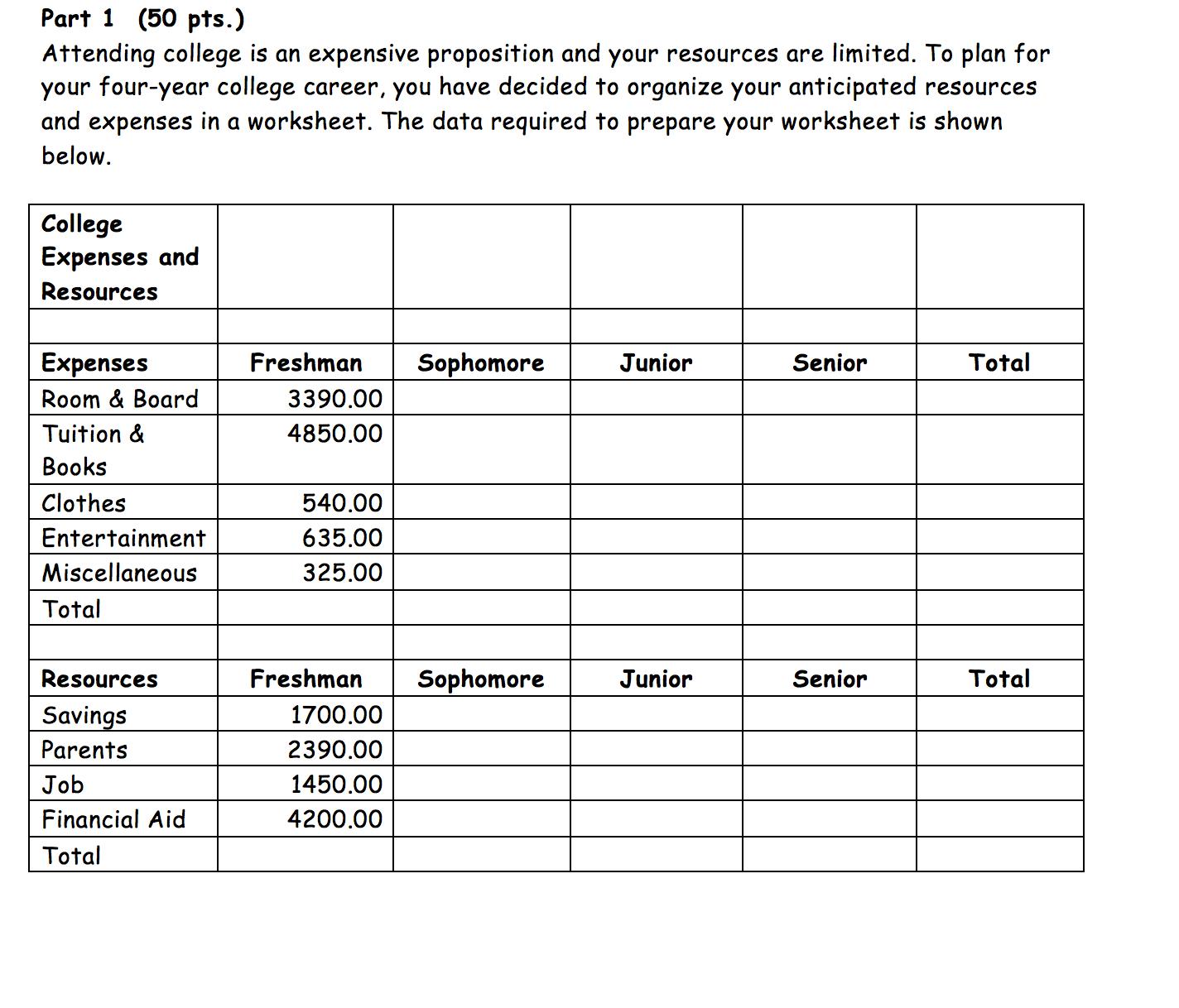 college expense worksheet