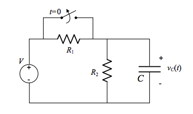 For the circuit shown, the switch is closed for a