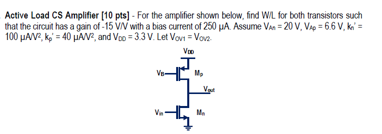 Active Load CS Amplifier - For the amplifier shown