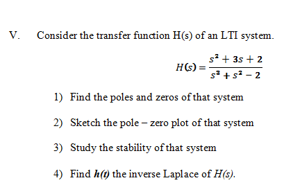 Consider the transfer function H(s) of an LTI syst