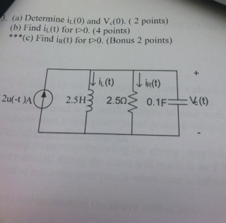 Determine iL (0) and VC(0). Find iL(t) for t>0.