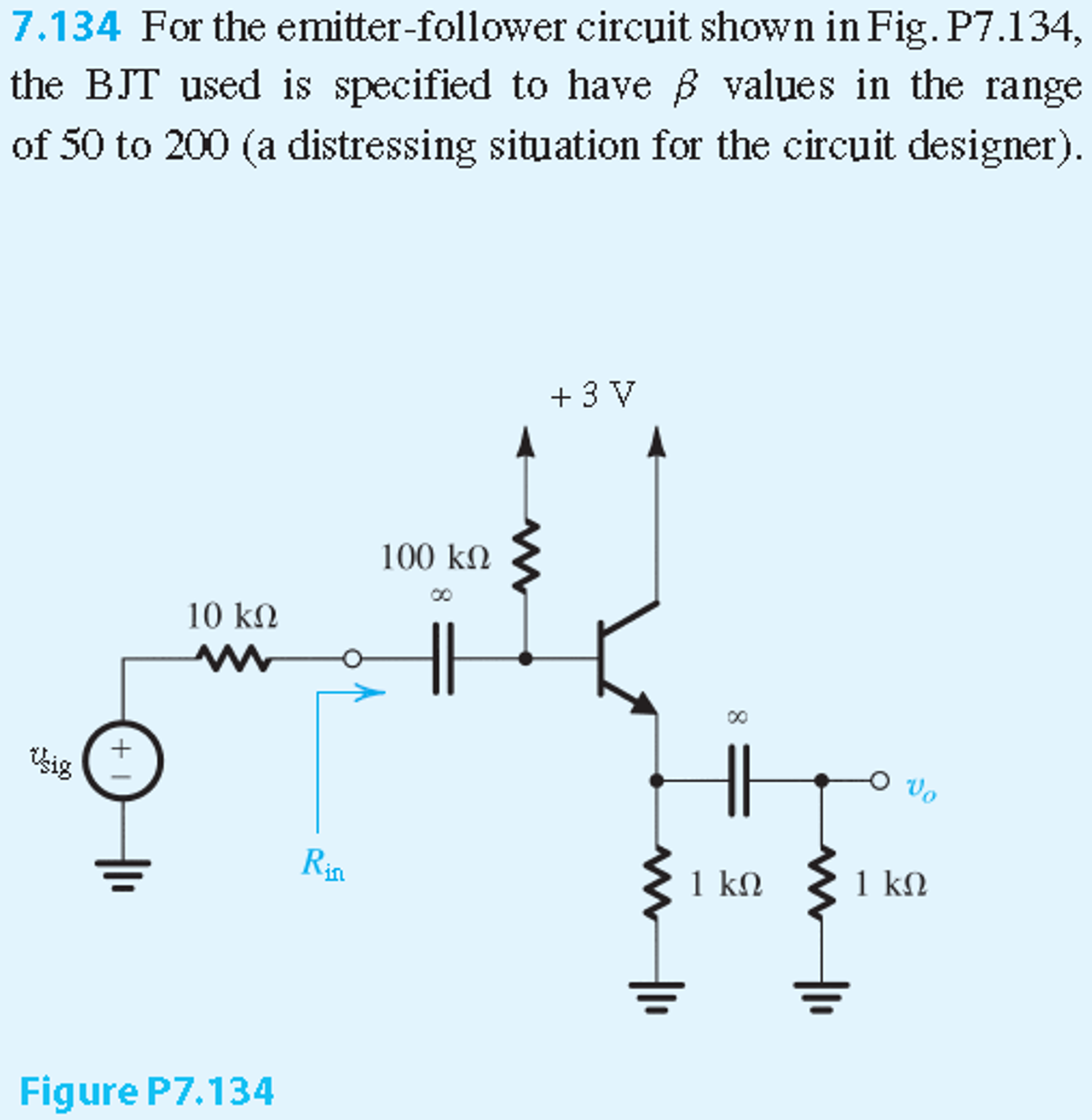 Solved for the emitter follower circuit shown in fig p7 for the circuit designer for the two extreme values of 50 and 200 find a ie ve and vb b the input resistance rin c the voltage gain ccuart Image collections