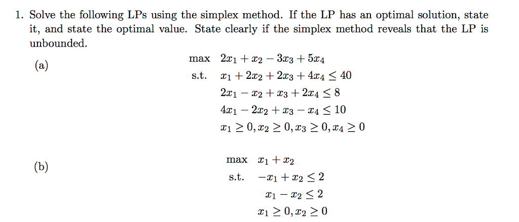 simplex method questions and answers pdf