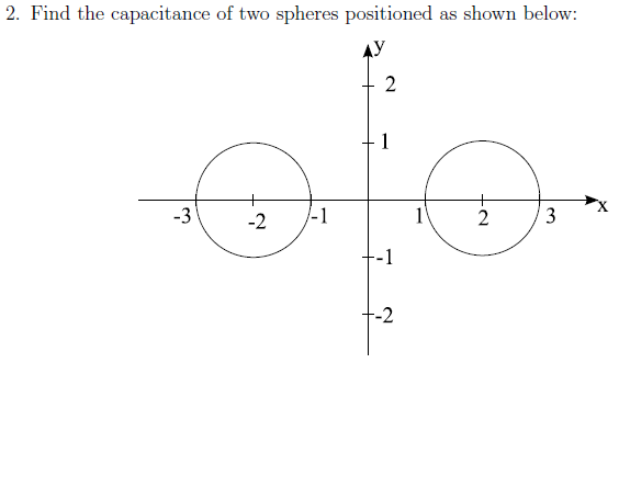 Find the capacitance of two spheres positioned as