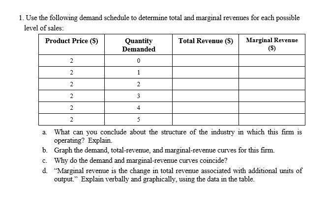 Question: Use the following demand schedule to determine total and marginal revenues for each possible leve...
