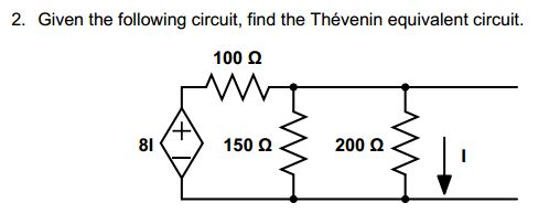 Given the following circuit1 Find the Thevenin eq