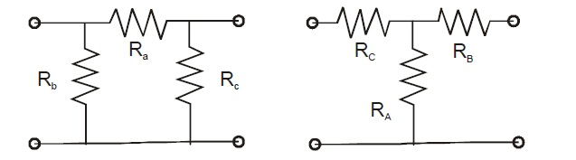 Consider a delta connection of resistors and its e