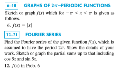 Sketch or graph f(x) which for -pi < x < pi is giv