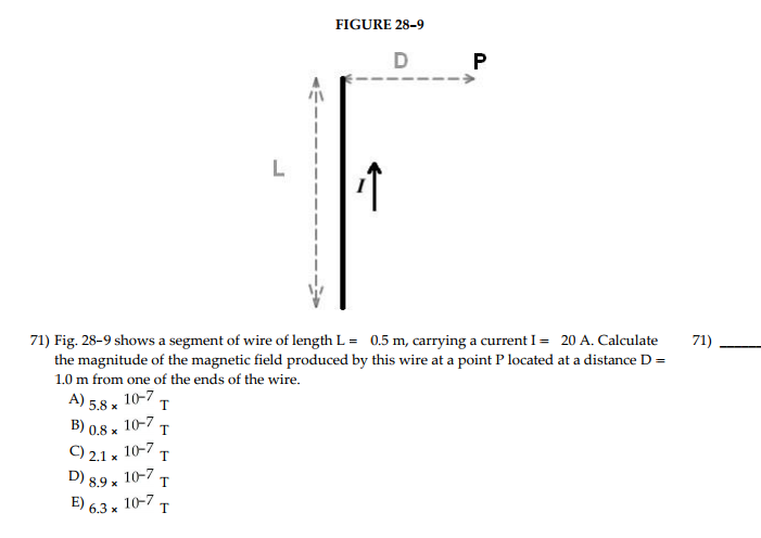 Solved fig 28 9 shows a segment of wire of length l 0 figure 28 9 b58 1o7 of theen stice len b 08 x 10 keyboard keysfo Images