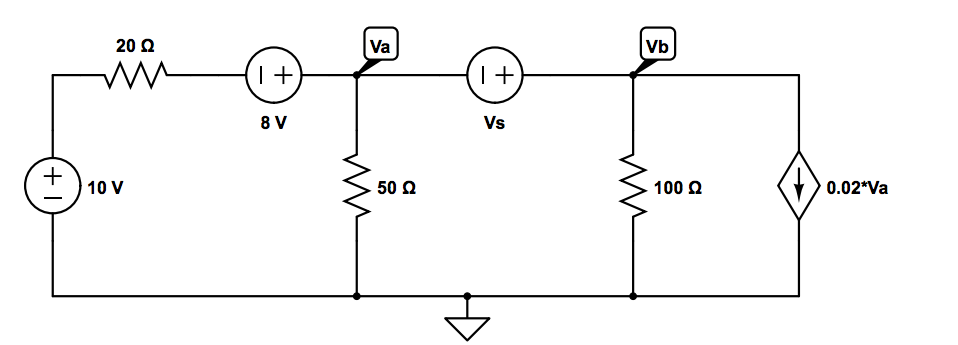 In the attached circuit, when Vb = 4.5V, what is