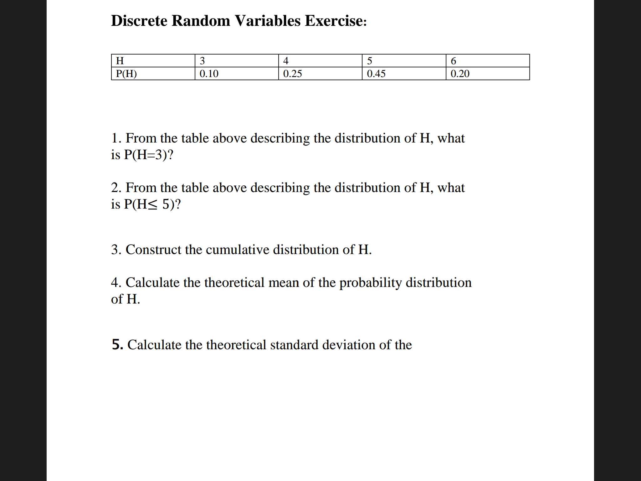 Discrete Random Variables Exercise: From The Tabl