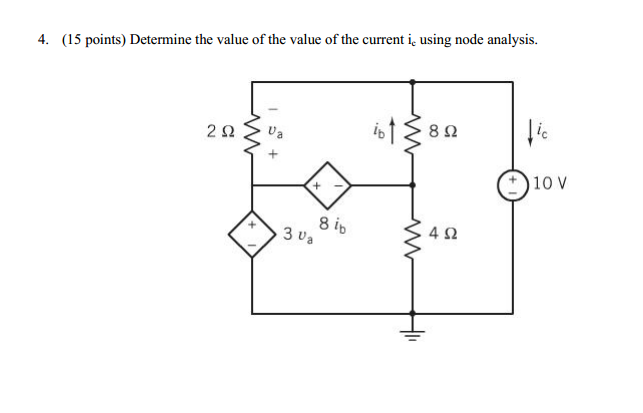 Determine the value of the value of the current ic