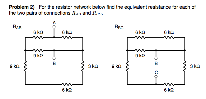 For the resistor network below find the equivalent