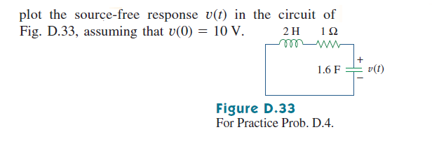 plot the source-free response v(t) in the circuit