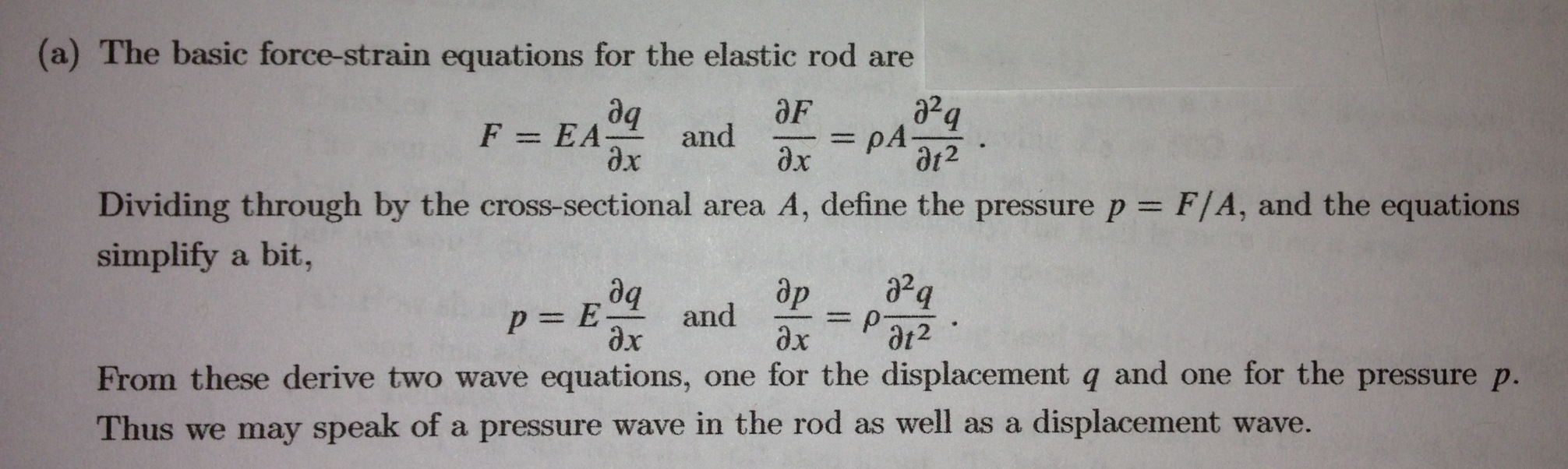 The basic force-strain equations for the elastic r