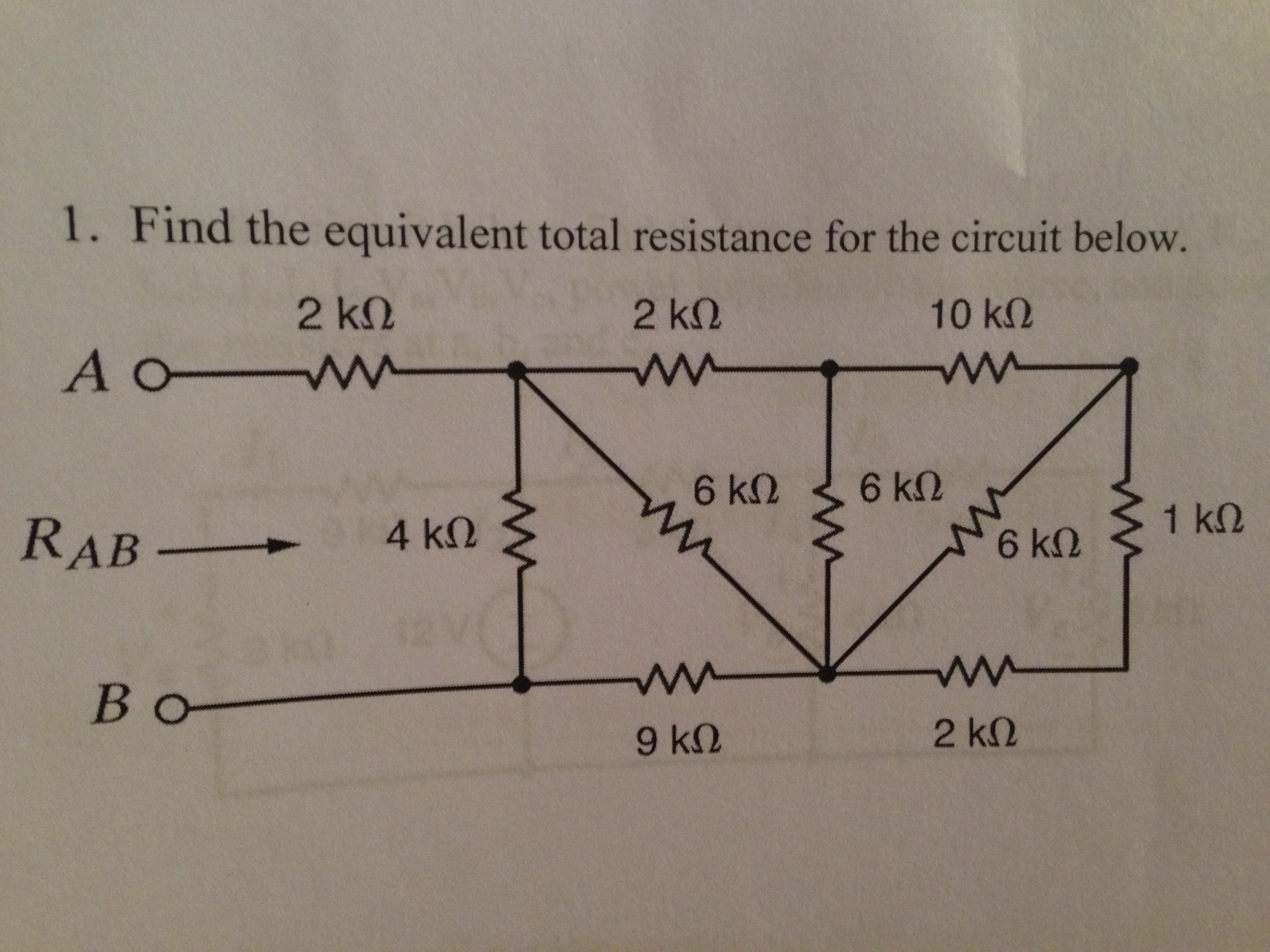 Find the equivalent total resistance for the circu