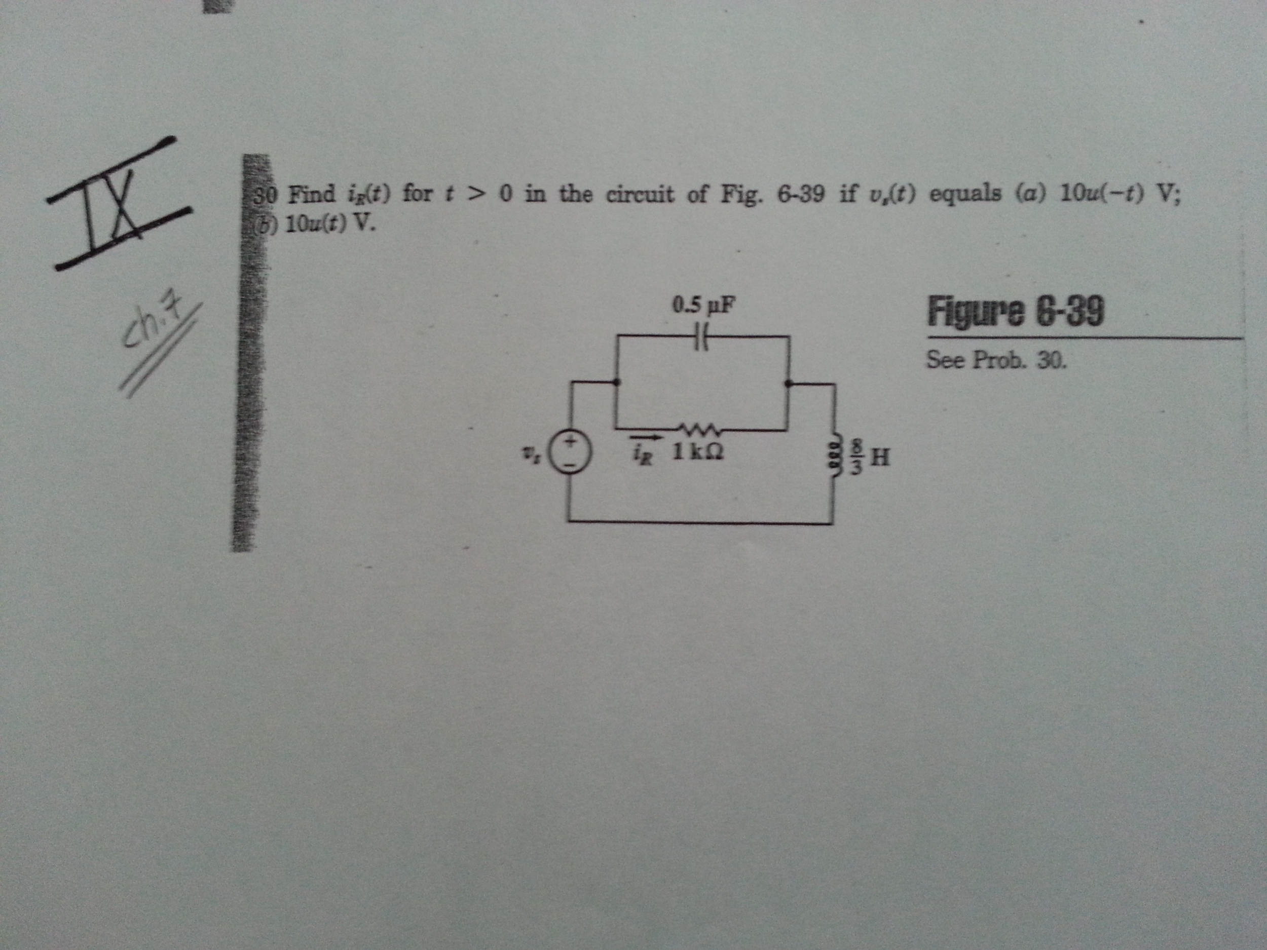 Find ig(f) for t > 0 in the circuit of Fig. 6-39 i