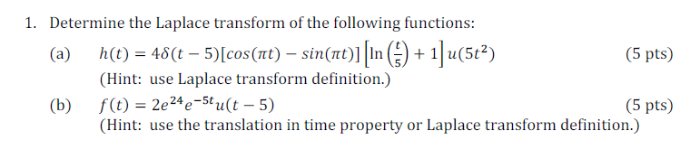 Determine the Laplace transform of the following f